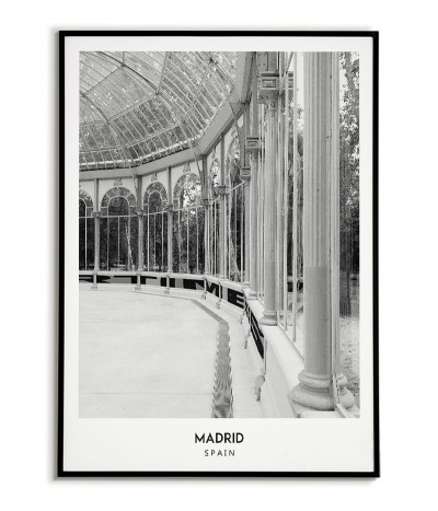Poster with the city of Madrid in Spain, Artwork No. 7 on the wall painting. black and white photo on the wall.