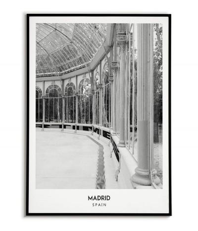 Plakat z miastem Madryt w Hiszpanii,  Grafika nr 7 na ścianę obraz. czarno biała fotografia na ścianę.