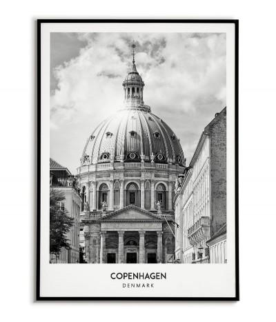 Plakat z miastem Kopenhaga w Danii,  Grafika na ścianę obraz. czarno biała fotografia na ścianę.