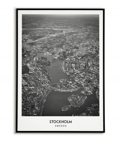 Poster with the city of Stockholm in Sweden Artwork on the wall painting. black and white photo on the wall.