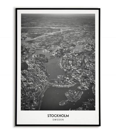 Plakat z miastem Sztokholm w Szwecji  Grafika na ścianę obraz. czarno biała fotografia na ścianę.