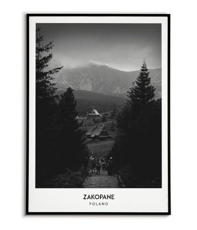 Plakat z miastem Zakopane w Polsce, Grafika na ścianę obraz. czarno biała fotografia na ścianę