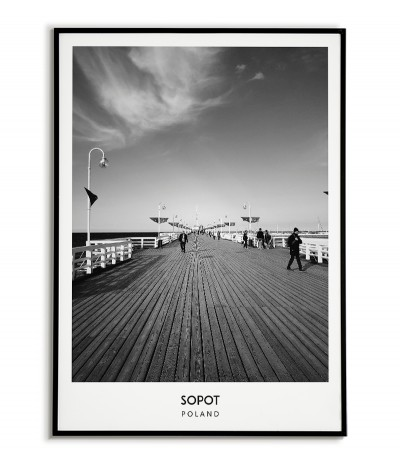 Poster with the city of Sopot in Poland, Graphics on the wall, painting. black and white photo on the wall