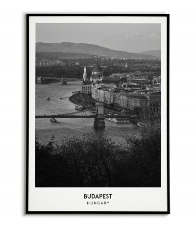 Poster with the city of Budapest in Hungary Artwork on the wall painting. black and white photo on the wall.