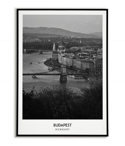 Plakat z miastem Budapeszt na Węgrzech Grafika na ścianę obraz. czarno biała fotografia na ścianę.