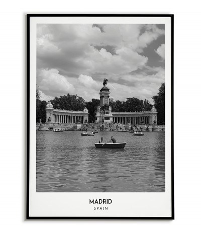 Poster with the city of Madrid in Spain, Artwork No. 8 on the wall painting. black and white photo on the wall.