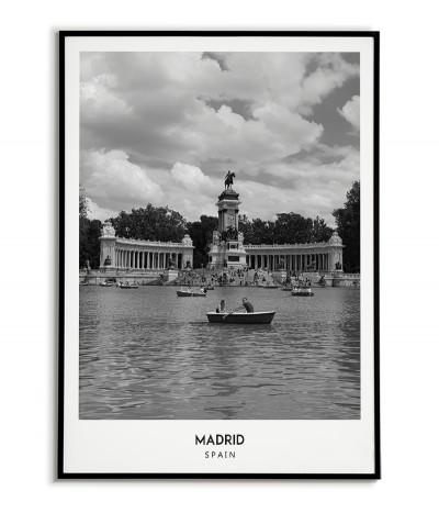 Plakat z miastem Madryt w Hiszpanii,  Grafika nr 8 na ścianę obraz. czarno biała fotografia na ścianę.