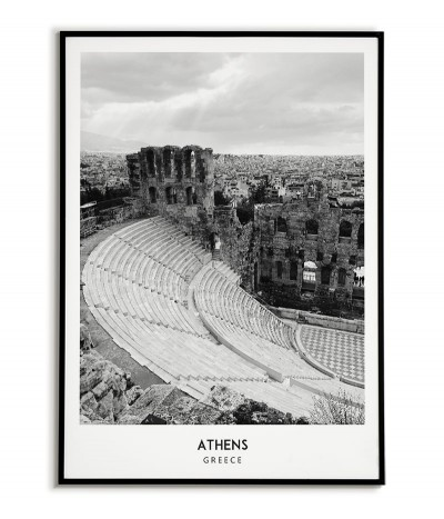 Poster with the city of Athens in Greece Artwork on the wall painting. black and white photo on the wall.
