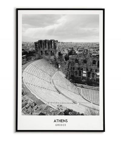 Plakat z miastem Ateny w Grecji Grafika na ścianę obraz. czarno biała fotografia na ścianę.