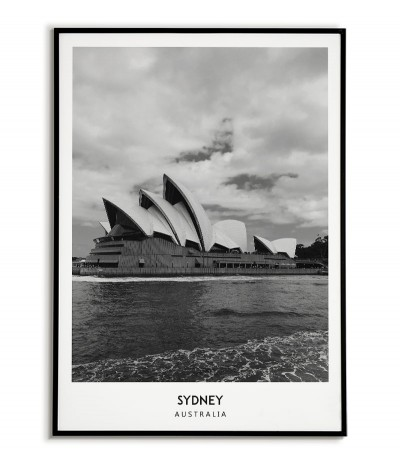 Poster with the city of Sydney in Australia. Artwork on the wall. black and white photo on the wall.