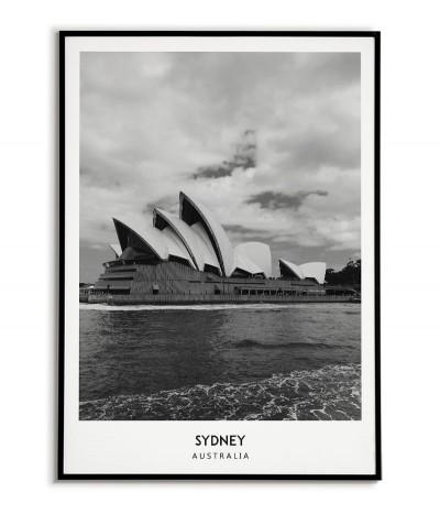 Plakat z miastem Sydney w Australii Grafika na ścianę obraz. czarno biała fotografia na ścianę.