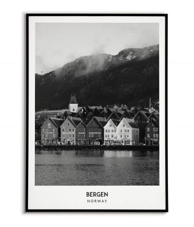 Plakat z miastem Bergen w Norwegii Grafika na ścianę obraz. czarno biała fotografia na ścianę.