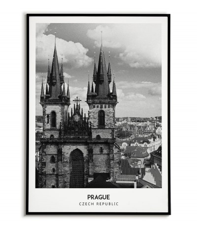 Poster with the city of Prague in the Czech Republic. Artwork on the wall. black and white photo on the wall.