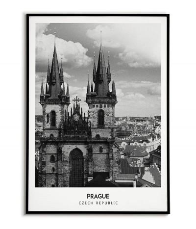 Plakat z miastem Praga w Czechach Grafika na ścianę obraz. czarno biała fotografia na ścianę.