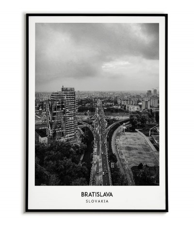 Poster with the city of Bratislava in Slovakia. Artwork on the wall. black and white photo on the wall.