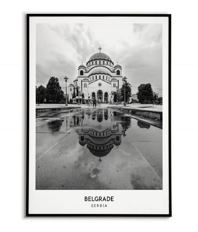Plakat z miastem Belgrad w Serbii Grafika na ścianę obraz. czarno biała fotografia na ścianę.