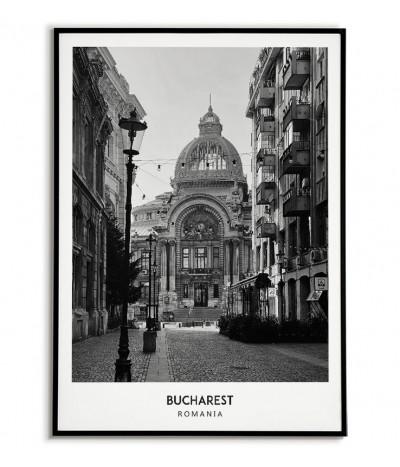 Plakat z miastem Bukareszt w Rumunii Grafika na ścianę obraz. czarno biała fotografia na ścianę.
