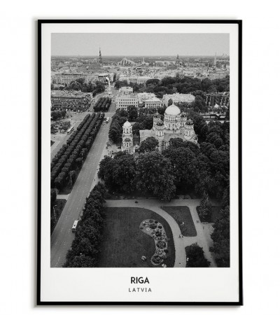 Poster with the city of Riga in Latvia. Artwork on the wall painting. black and white photo on the wall.