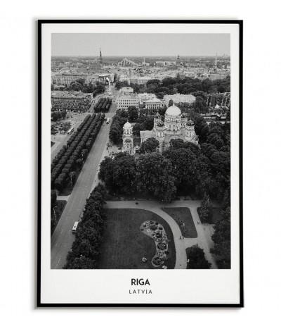 Plakat z miastem Ryga na Łotwie Grafika na ścianę obraz. czarno biała fotografia na ścianę.