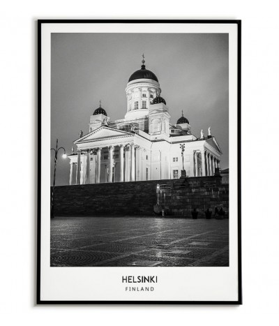 Poster with the city of Helsinki in Finland Artwork on the wall painting. black and white photo on the wall.