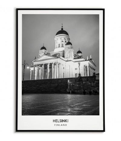 Plakat z miastem Helsinki w Finlandii Grafika na ścianę obraz. czarno biała fotografia na ścianę.