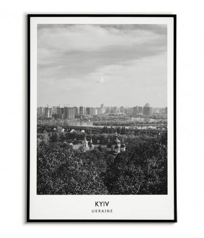 Plakat z miastem Kijów na Ukrainie Grafika na ścianę obraz. czarno biała fotografia na ścianę.