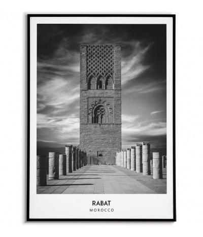 Plakat z miastem Rabat w Maroku Grafika na ścianę obraz. czarno biała fotografia na ścianę.