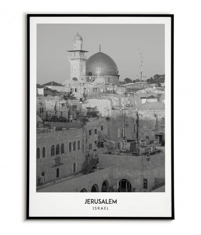 Poster with the city of Jerusalem in Israel. Artwork on the wall. black and white photo on the wall.