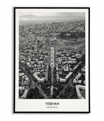 Poster with the city of Yerevan in Armenia. Artwork on the wall. black and white photo on the wall.