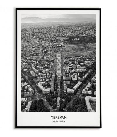 Plakat z miastem Erywań w Armenii Grafika na ścianę obraz. czarno biała fotografia na ścianę.