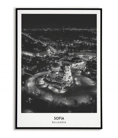 Plakat z miastem Sofia w Bułgarii. Grafika na ścianę obraz. czarno biała fotografia na ścianę.