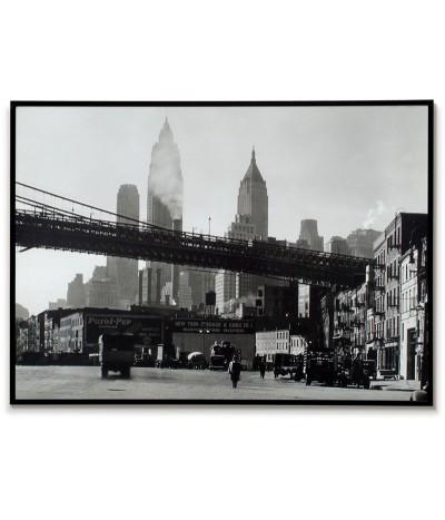 Plakat nowy Jork, manhattan bridge fotografia z 1934 roku. Grafika do ramki vintage