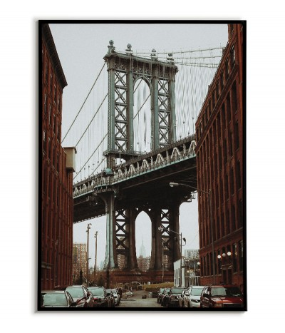 New York Manhattan Bridge Poster. Artwork with a photo of the bridge to the frame. The modern architecture of the United States.