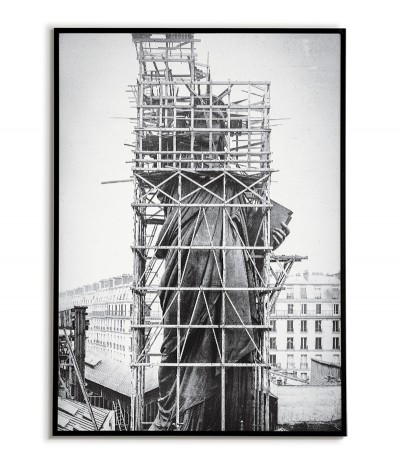 A poster of the Statue of Liberty during its construction in 1883. New York City in the 1930s. Beautiful graphics, photo frames.