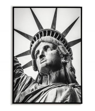 Plakat Statua Wolności w Nowym Jorku. Fotografia czarno biała do salonu lub sypialni. Grafika do ramki