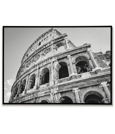 Plakat z Rzymem, widok na Koloseum. Piękna fotografia wykonana w czerni i bieli idealna do każdego salonu.