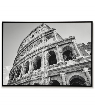 Poster with Rome, view of the Colosseum. Beautiful photography made in black and white, perfect for any living room.