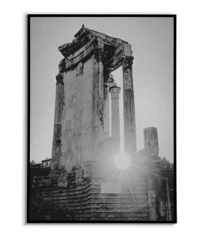 Plakat z Rzymem, widok na Forum Romanum. Piękna fotografia wykonana w czerni i bieli idealna do każdego salonu.