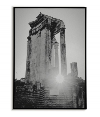 Poster with Rome, view of the Roman Forum. Beautiful photography made in black and white, perfect for any living room.