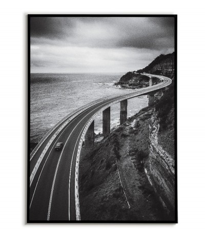 Poster Australia, the city of Clifton, photo for the living room with a view of the bridge. Black and white graphics
