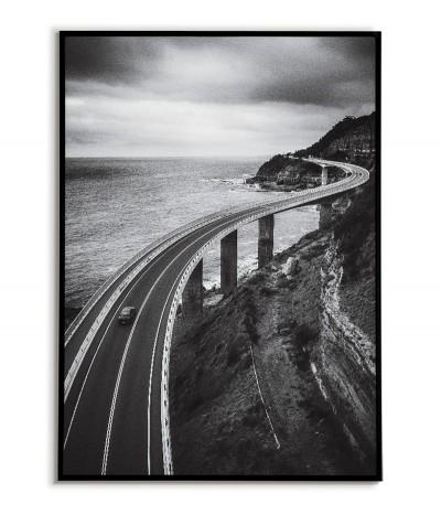 Plakat Australia, miasto Clifton, fotografia do salonu z widokiem na most. Grafika czarno biała do ramki.