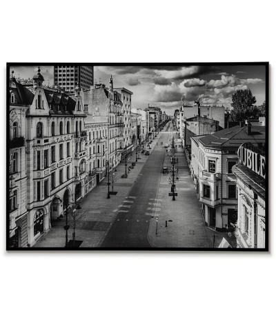 Plakat z miastem Łódź w Polsce. Piękna fotografia wykonana w czerni i bieli idealna do każdego wnętrza.