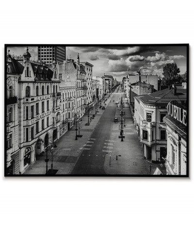 Poster with the city of Lodz in Poland. Beautiful photography made in black and white, perfect for any interior.