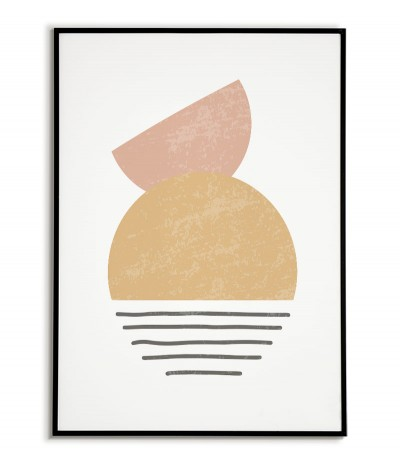 A modern poster in a minimalist style. A poster with abstract patterns and delicate pastel colors