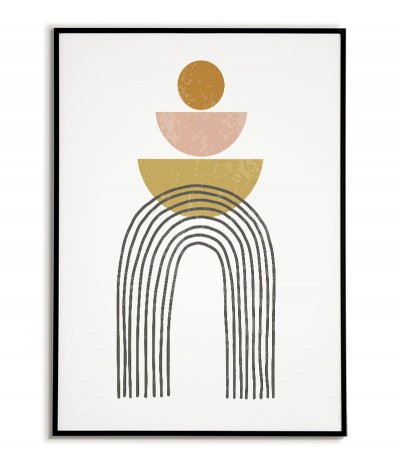 A modern poster in a minimalist style. Poster with abstract patterns and soft pastel colors