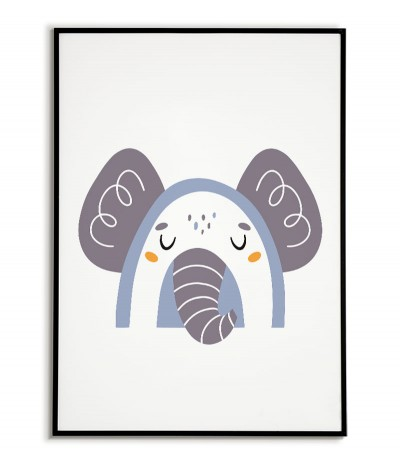 A poster for a child with an elephant in a modern style. Frame graphics perfect for a child's room.