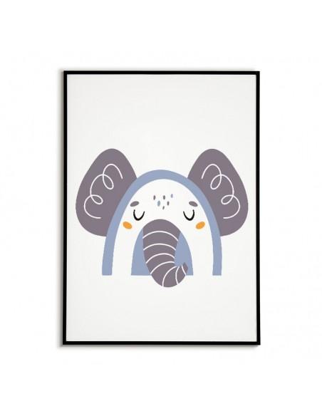 Plakat dla dziecka ze słoniem w nowoczesnym stylu. Grafika do ramki idealna do pokoju dziecięcego.