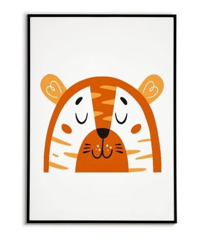 Plakat dla dziecka z tygrysem w nowoczesnym stylu. Grafika do ramki idealna do pokoju dziecięcego.