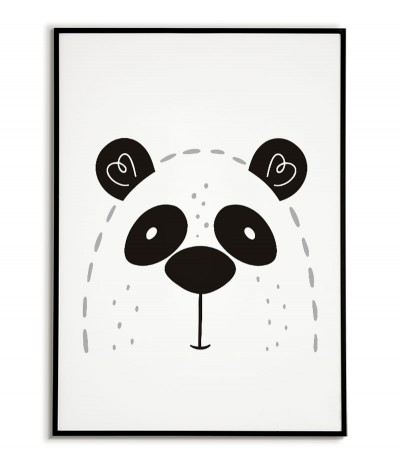 A poster for a child with a panda in a modern style. Frame graphics perfect for a child's room.