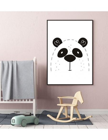 Plakat dla dziecka z pandą w nowoczesnym stylu. Grafika do ramki idealna do pokoju dziecięcego.